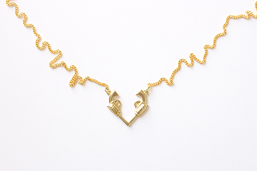 Gun Heart Necklace